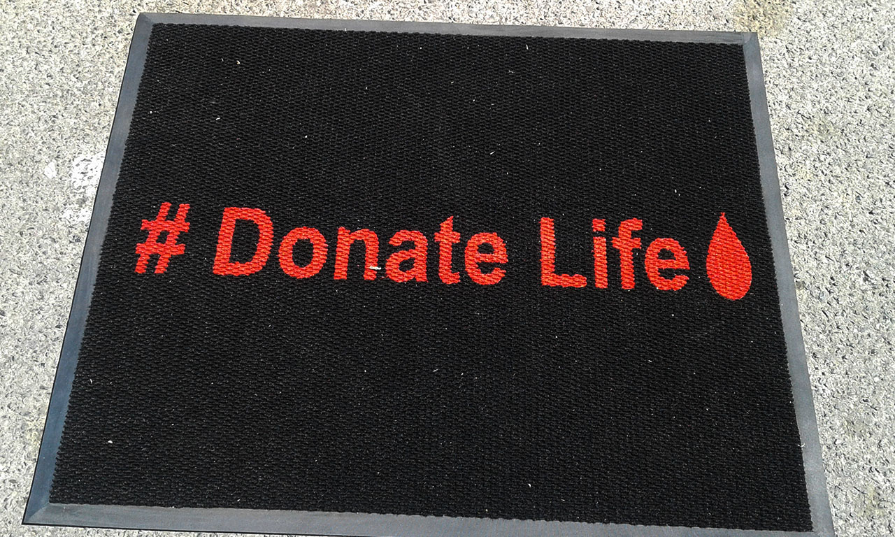 donate life logo mat made with a black background