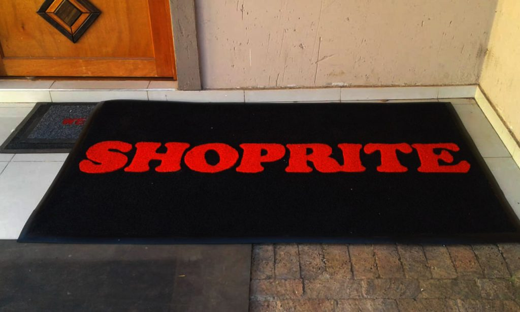shoprite branded mat. its made from vinyl looped mat
