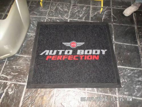 auto body perfection square logo mat.