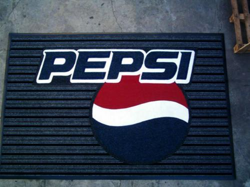 pepsi cola branded mat its made from boardwalk carpet.