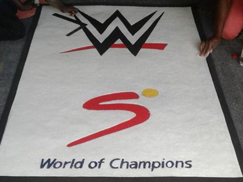 supersport branded mat ,with awhite background.